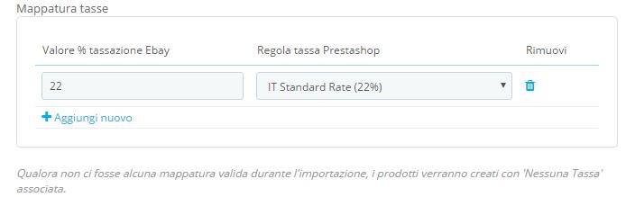 fastbay import mappatura tasse