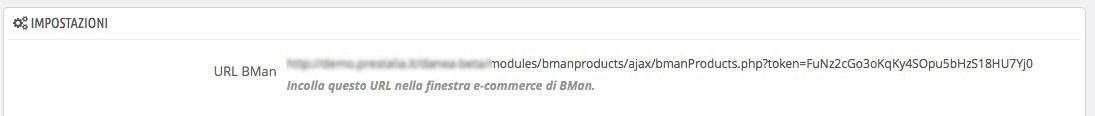 pannello URL modulo BMAN